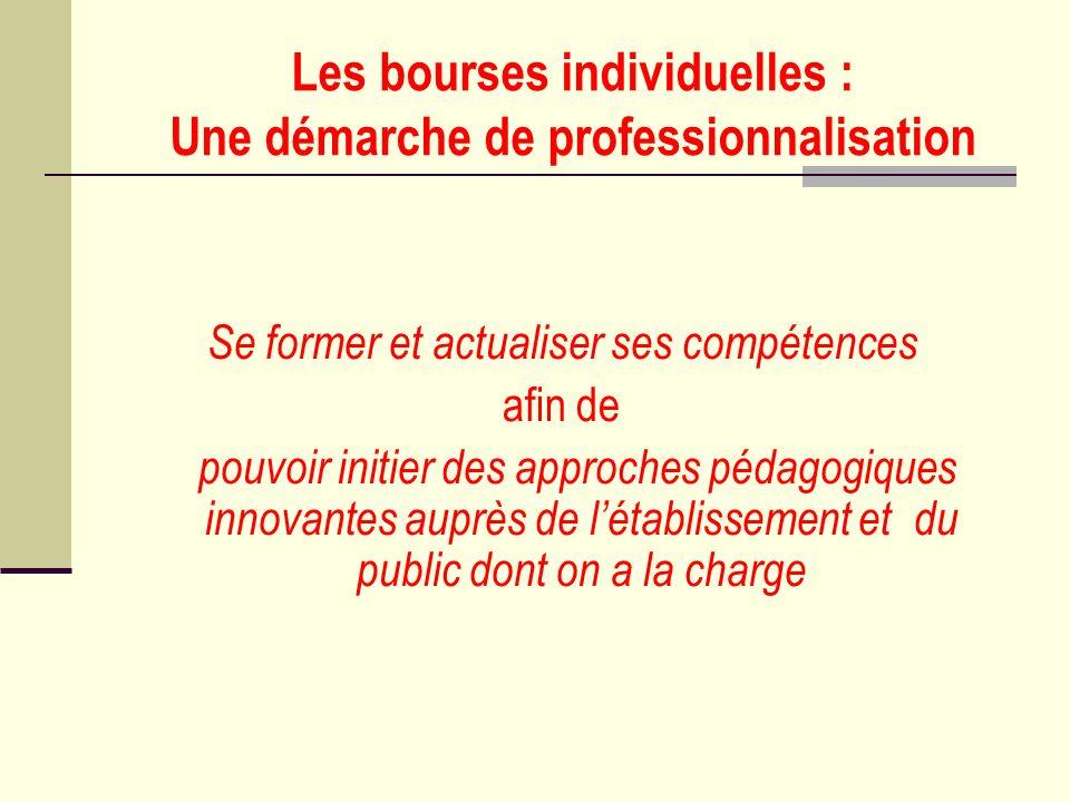 Les bourses individuelles : Une démarche de professionnalisation