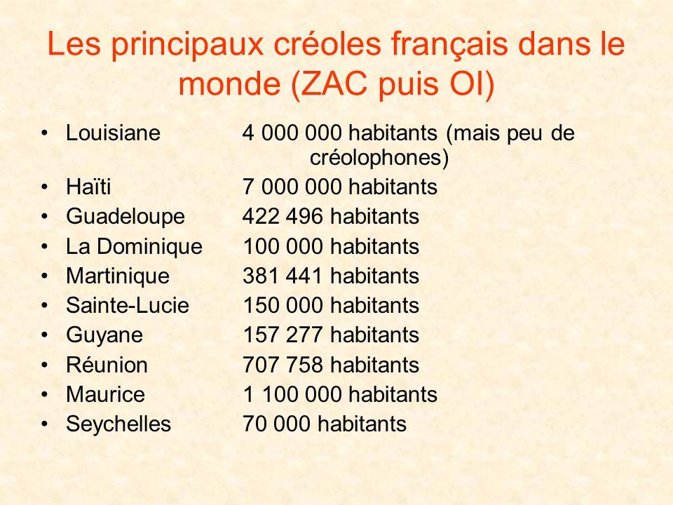 Les principaux créoles français dans le monde (ZAC puis OI)