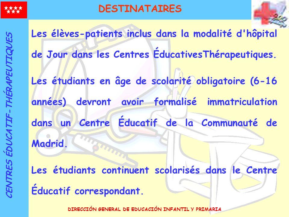 DESTINATAIRES Les élèves-patients inclus dans la modalité d hôpital de Jour dans les Centres ÉducativesThérapeutiques.