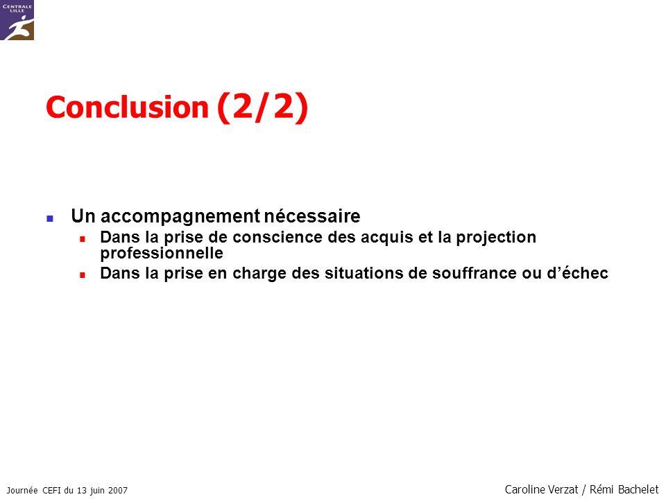 Conclusion (2/2) Un accompagnement nécessaire