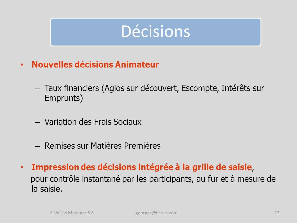 Shadow Manager 5.8 georges@bessis.com