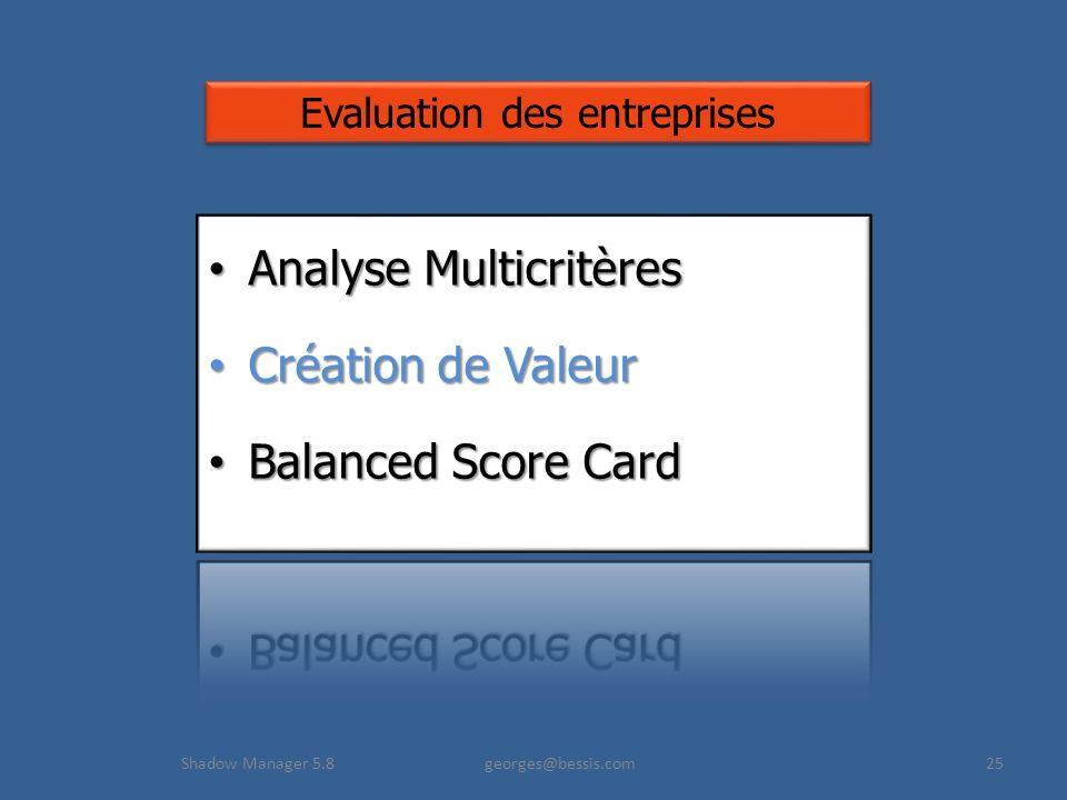 Analyse Multicritères Création de Valeur Balanced Score Card