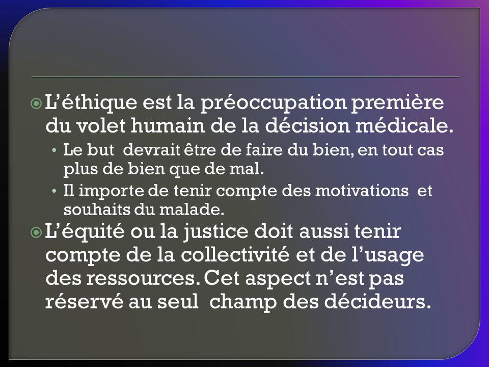 L'éthique est la préoccupation première du volet humain de la décision médicale.