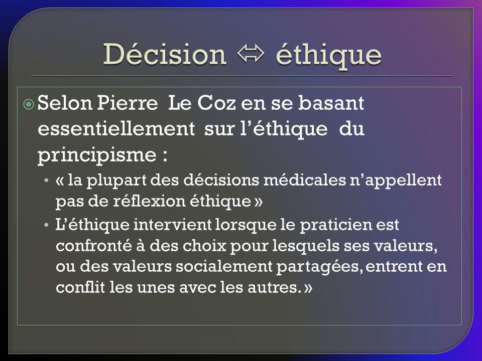 Décision  éthique Selon Pierre Le Coz en se basant essentiellement sur l'éthique du principisme :