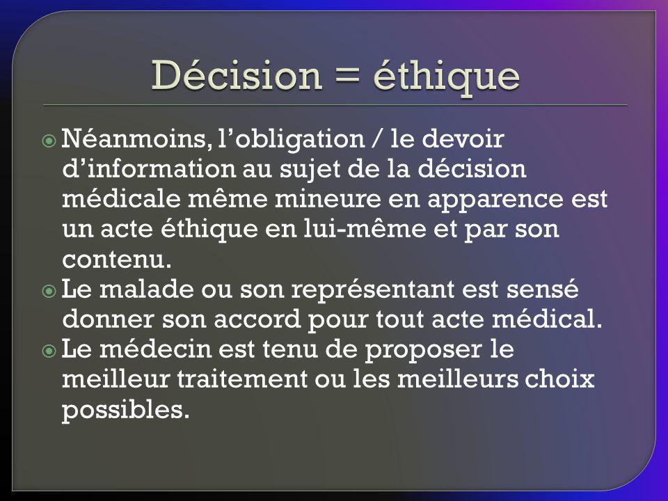 Décision = éthique
