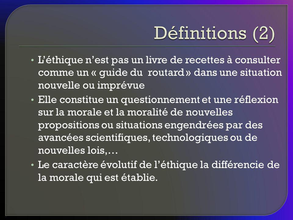 Définitions (2) L'éthique n'est pas un livre de recettes à consulter comme un « guide du routard » dans une situation nouvelle ou imprévue.