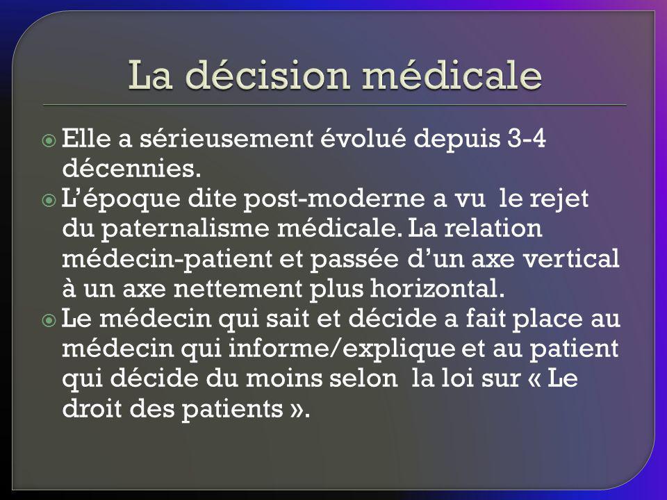 La décision médicale Elle a sérieusement évolué depuis 3-4 décennies.
