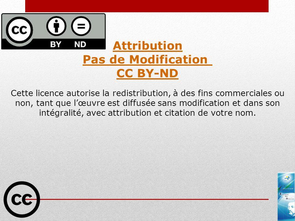 Pas de Modification CC BY-ND