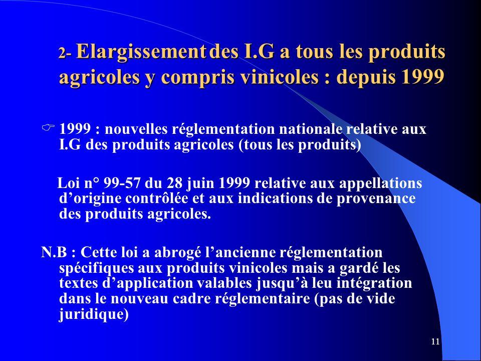 2- Elargissement des I.G a tous les produits agricoles y compris vinicoles : depuis 1999