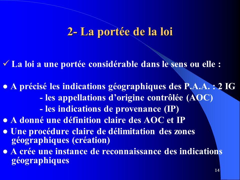 2- La portée de la loi La loi a une portée considérable dans le sens ou elle : ● A précisé les indications géographiques des P.A.A. : 2 IG.