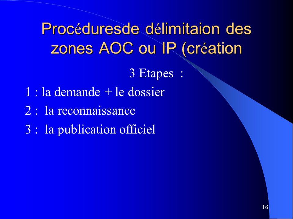 Procéduresde délimitaion des zones AOC ou IP (création