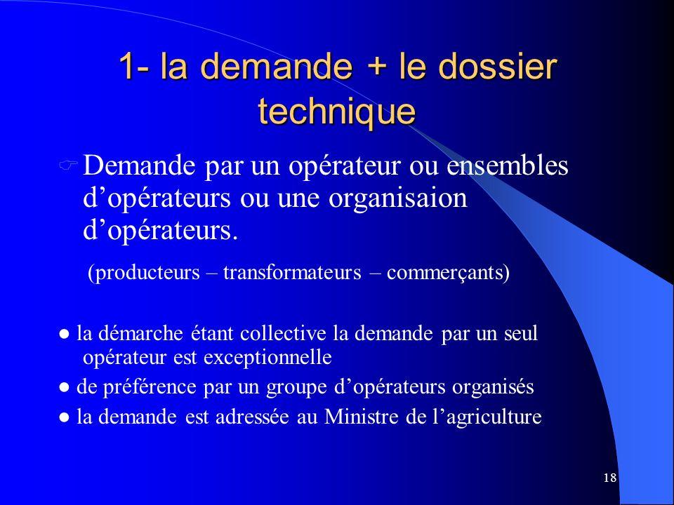 1- la demande + le dossier technique