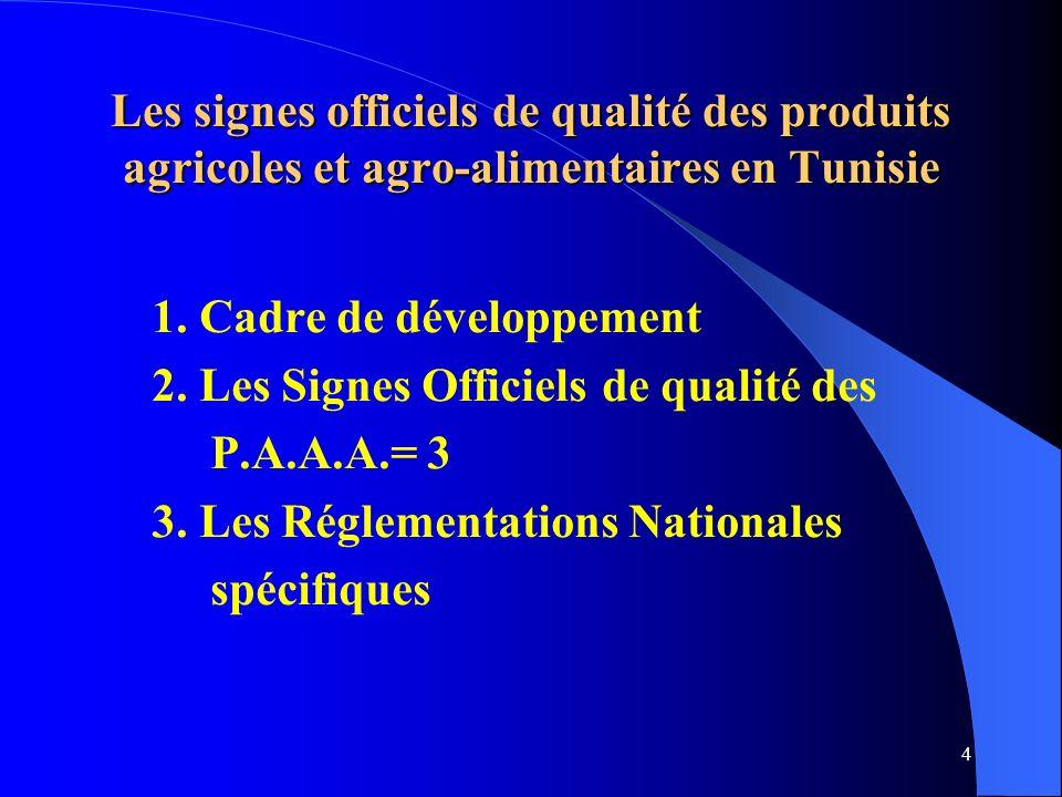 Les signes officiels de qualité des produits agricoles et agro-alimentaires en Tunisie