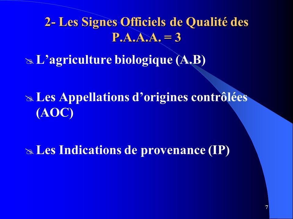 2- Les Signes Officiels de Qualité des P.A.A.A. = 3