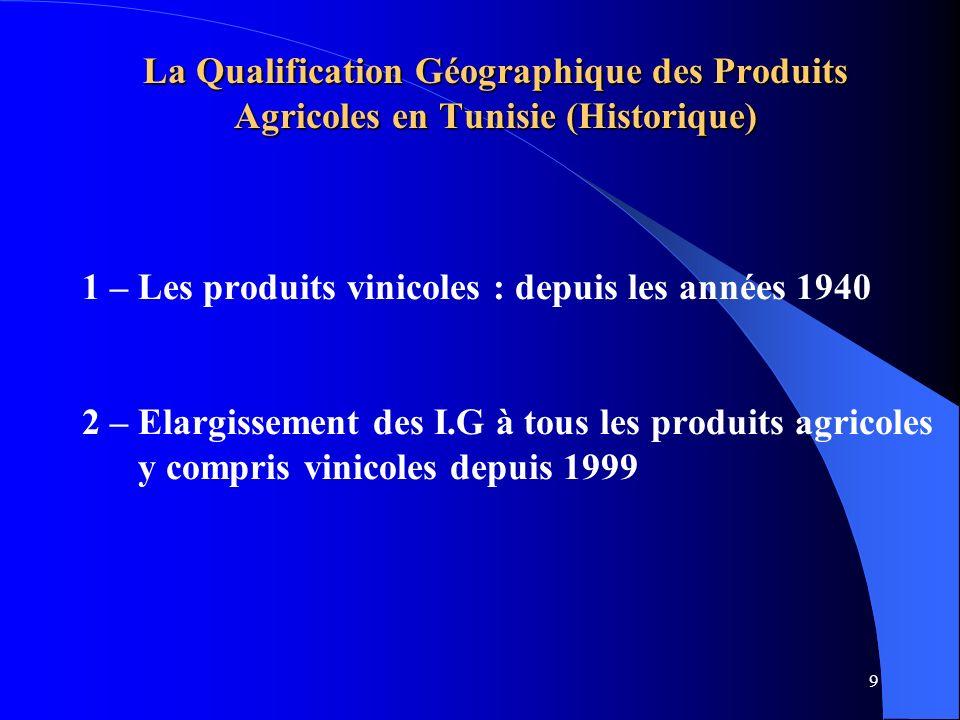 La Qualification Géographique des Produits Agricoles en Tunisie (Historique)