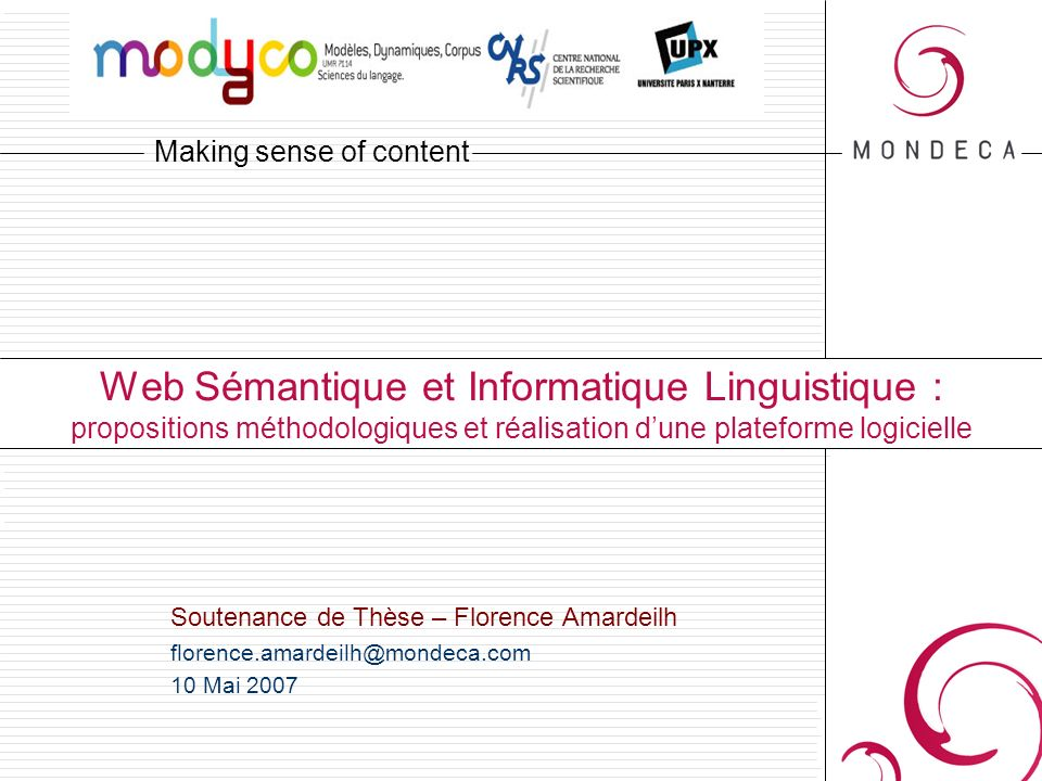 Web Sémantique et Informatique Linguistique : propositions méthodologiques et réalisation d'une plateforme logicielle