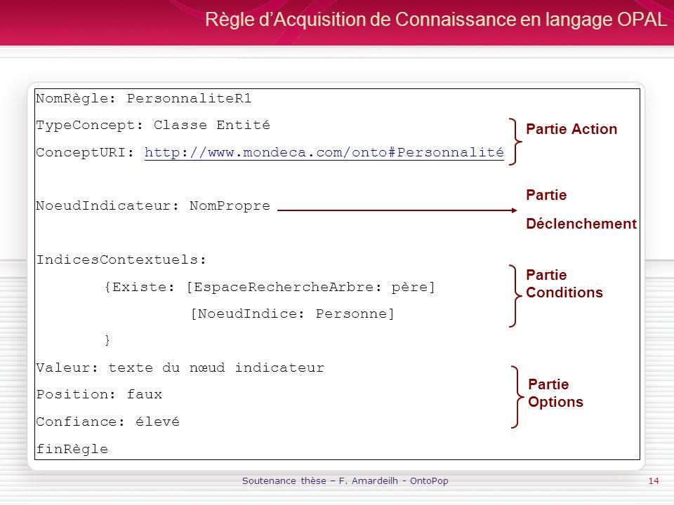 Règle d'Acquisition de Connaissance en langage OPAL