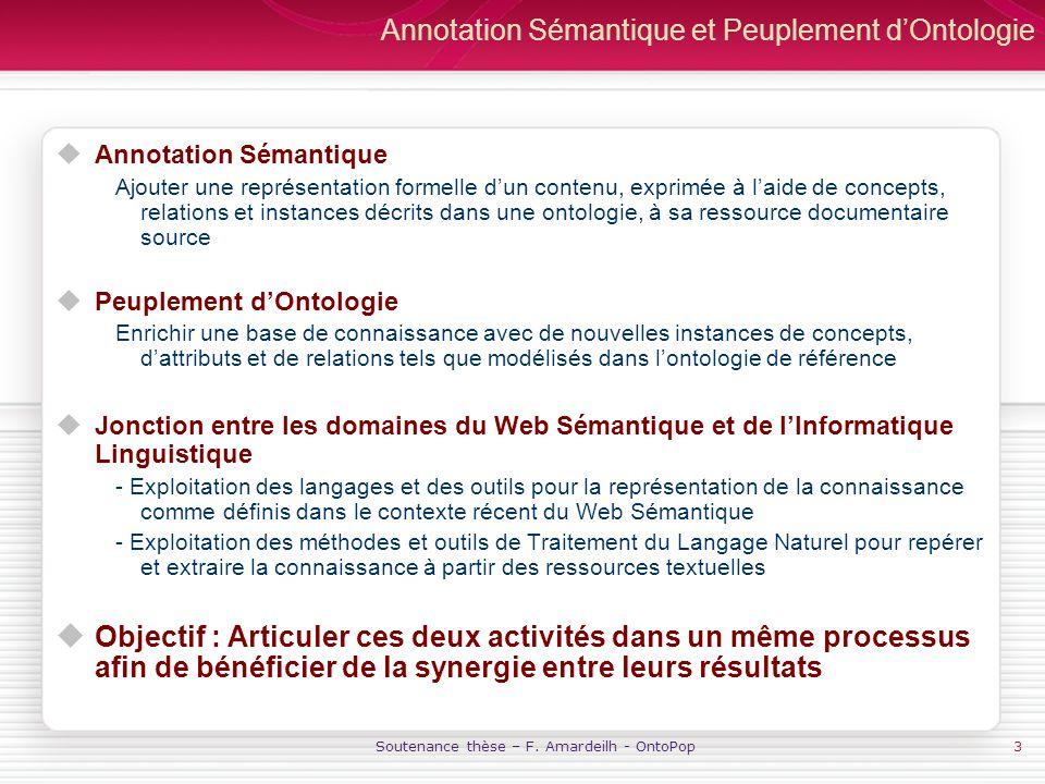 Annotation Sémantique et Peuplement d'Ontologie