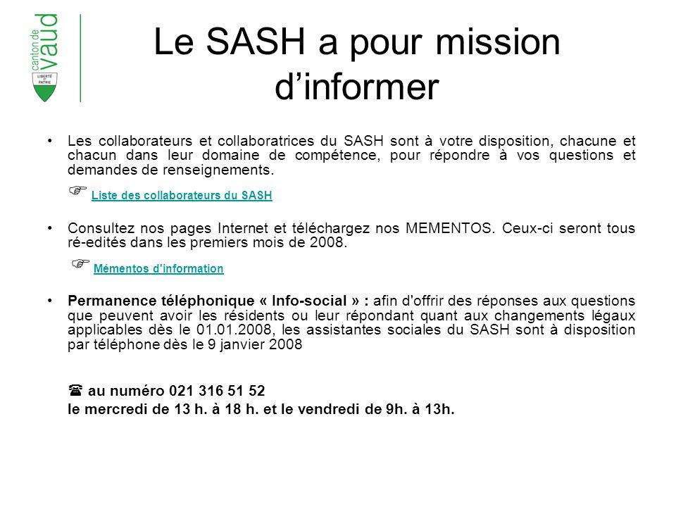 Le SASH a pour mission d'informer