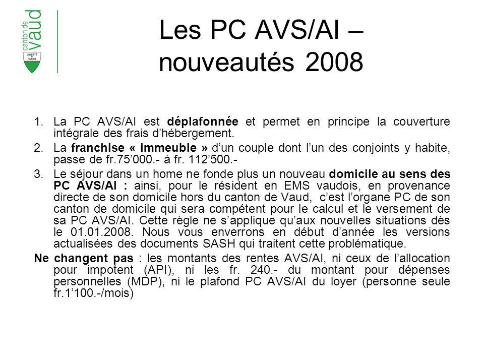 Les PC AVS/AI – nouveautés 2008