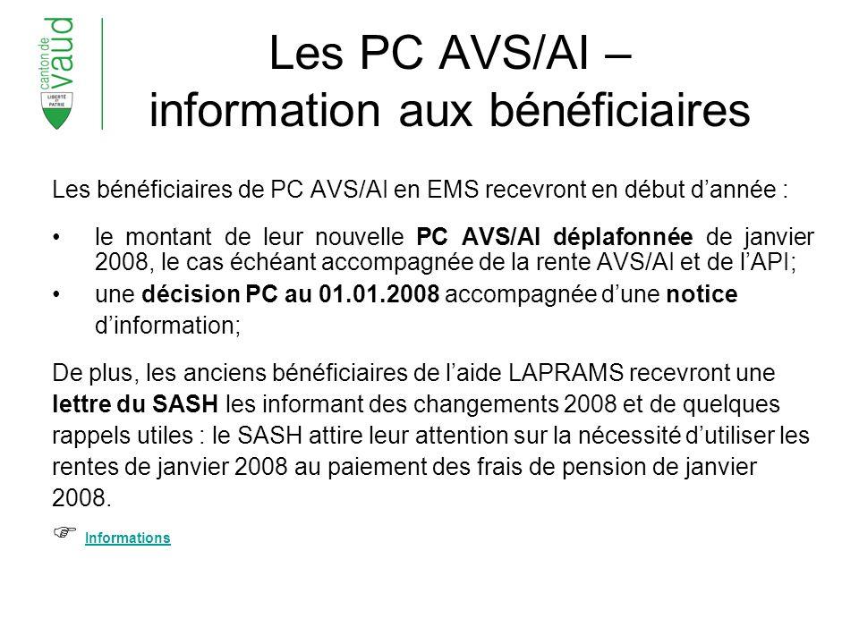 Les PC AVS/AI – information aux bénéficiaires