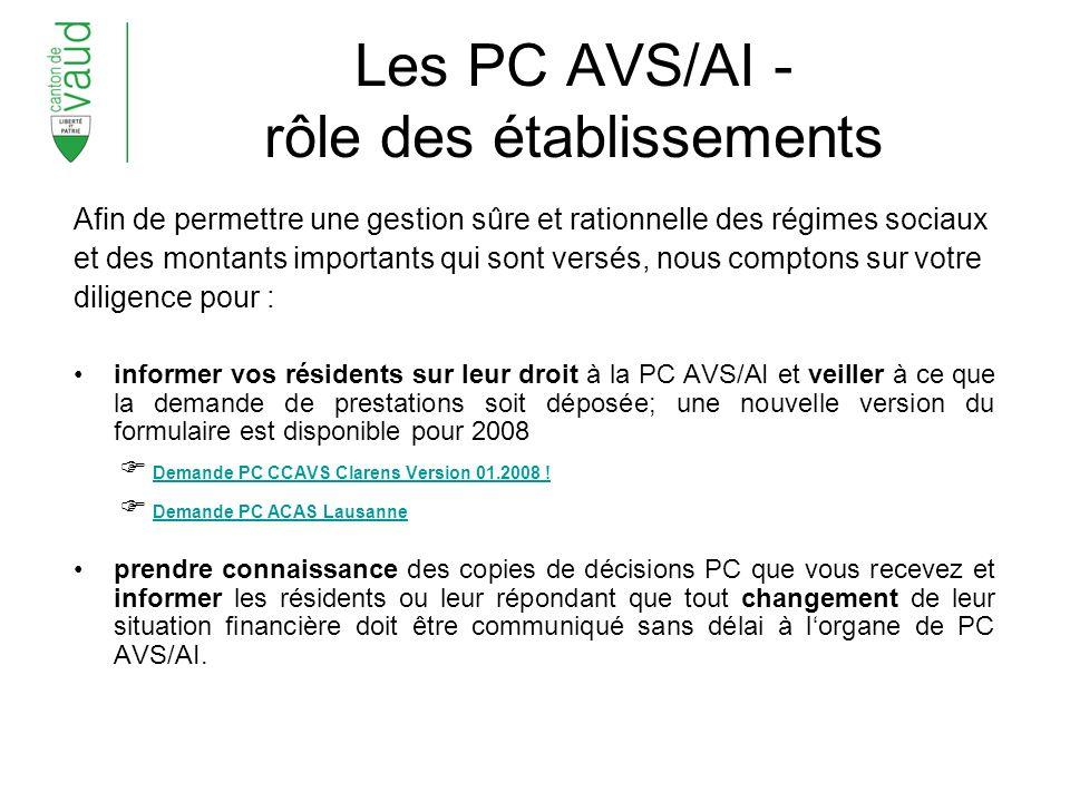 Les PC AVS/AI - rôle des établissements