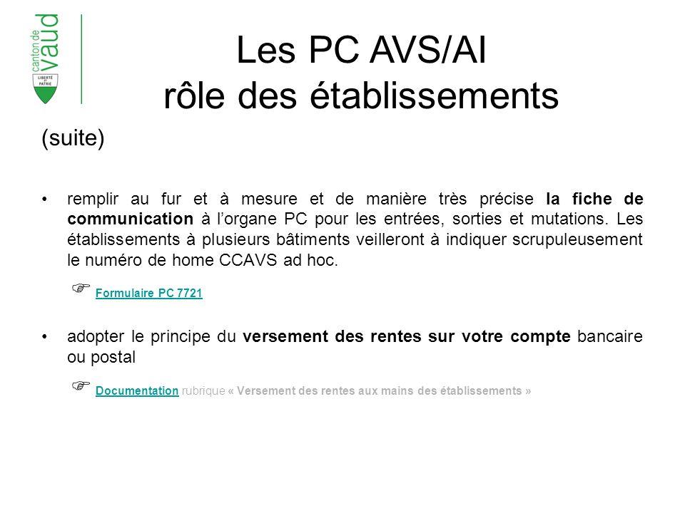 Les PC AVS/AI rôle des établissements