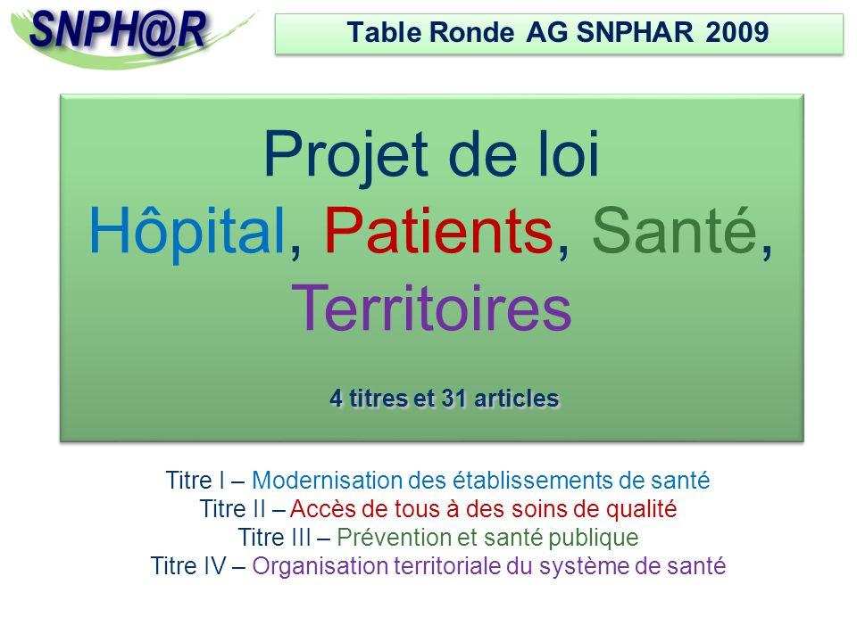 Table Ronde AG SNPHAR 2009 Projet de loi Hôpital, Patients, Santé, Territoires 4 titres et 31 articles.