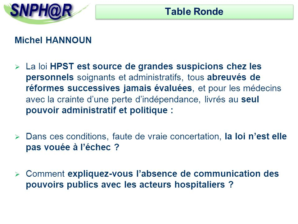 Table Ronde Michel HANNOUN