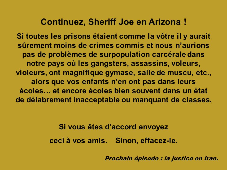 Continuez, Sheriff Joe en Arizona !