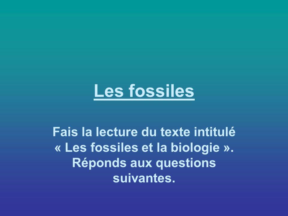 Les fossiles Fais la lecture du texte intitulé « Les fossiles et la biologie ».