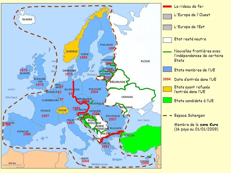 Le rideau de fer L Europe de l Ouest. L Europe de l'Est. Etat resté neutre. 1957. 57. 1973. 1981.