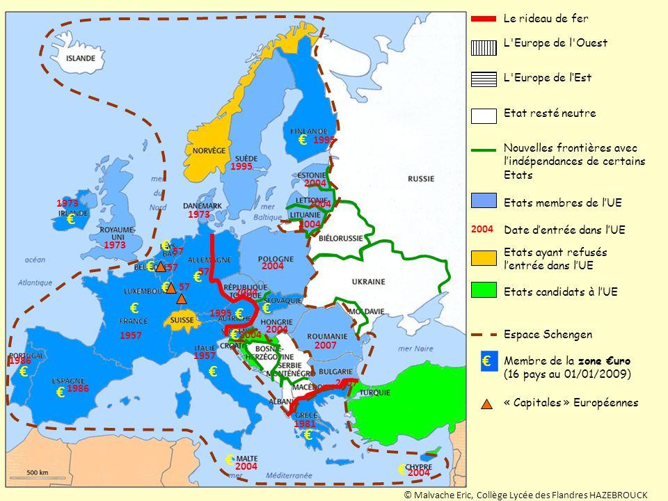 € € € € € Le rideau de fer L Europe de l Ouest L Europe de l'Est