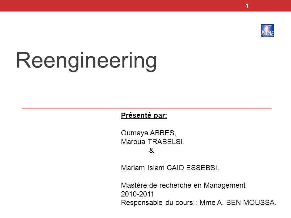 Reengineering Présenté par: Oumaya ABBES, Maroua TRABELSI, &