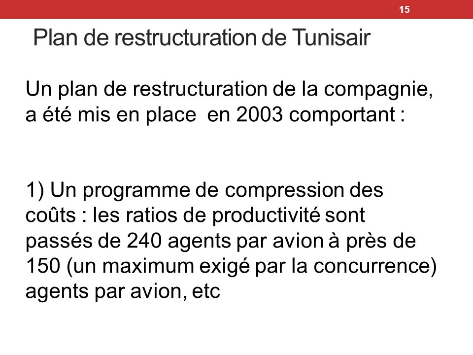Plan de restructuration de Tunisair