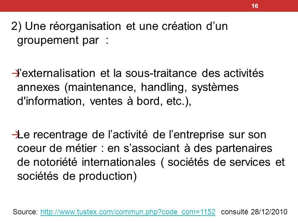 2) Une réorganisation et une création d'un groupement par :