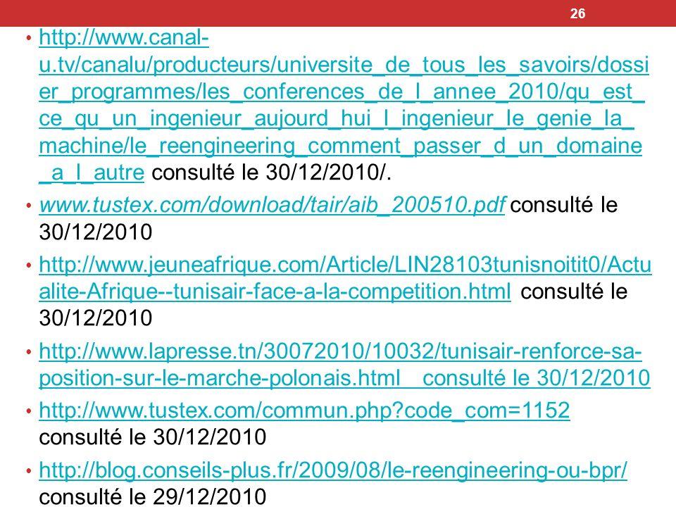 http://www.canal-u.tv/canalu/producteurs/universite_de_tous_les_savoirs/dossier_programmes/les_conferences_de_l_annee_2010/qu_est_ce_qu_un_ingenieur_aujourd_hui_l_ingenieur_le_genie_la_machine/le_reengineering_comment_passer_d_un_domaine_a_l_autre consulté le 30/12/2010/.