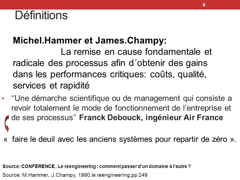Définitions Michel.Hammer et James.Champy: