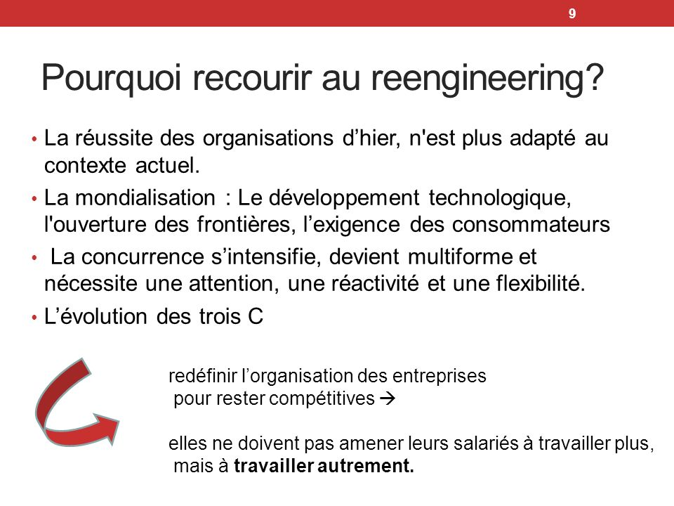 Pourquoi recourir au reengineering
