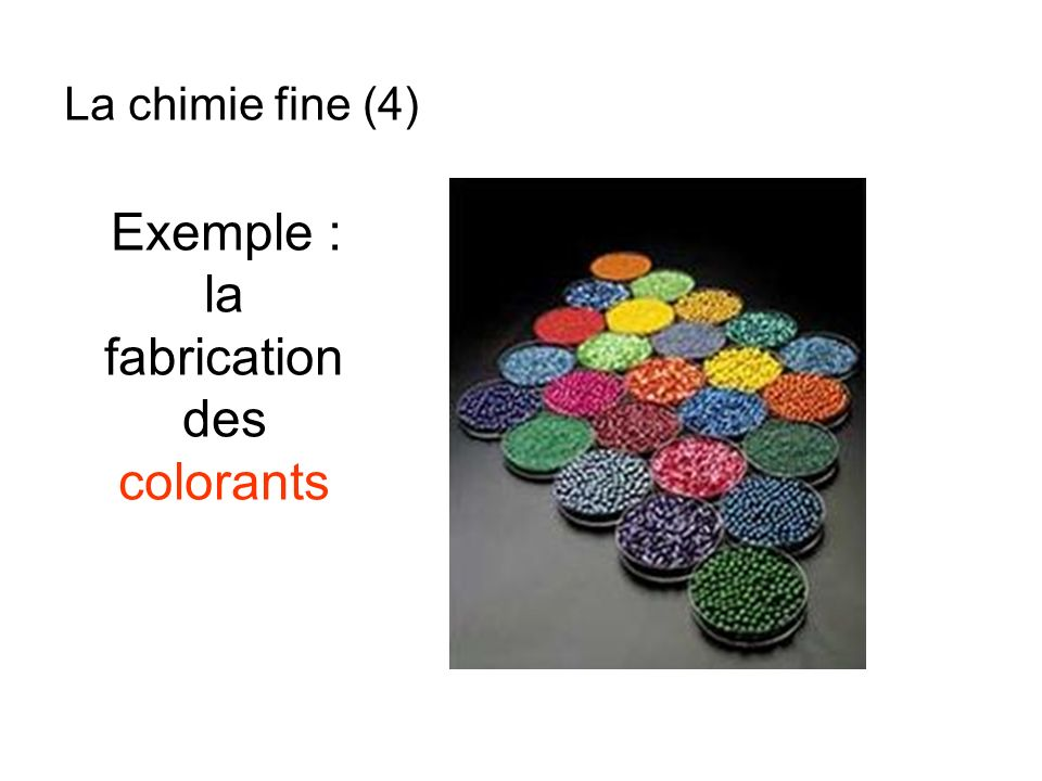 Exemple : la fabrication des colorants