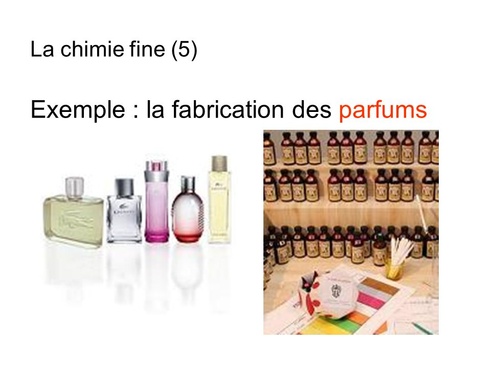 Exemple : la fabrication des parfums