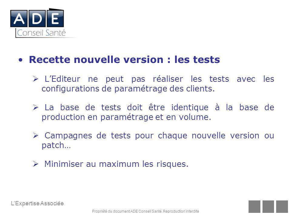 Recette nouvelle version : les tests