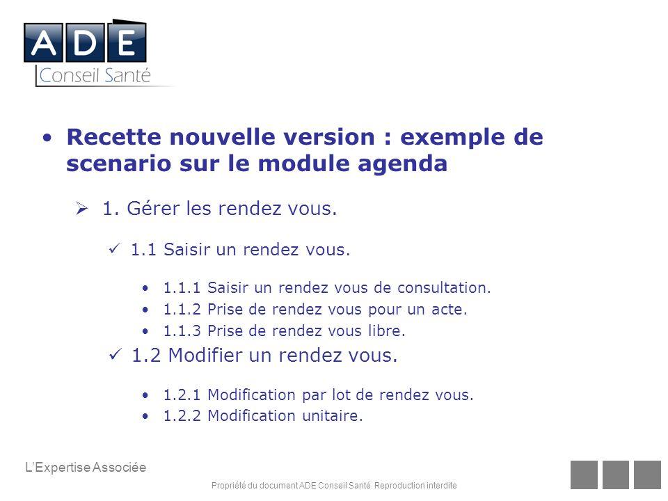 Recette nouvelle version : exemple de scenario sur le module agenda