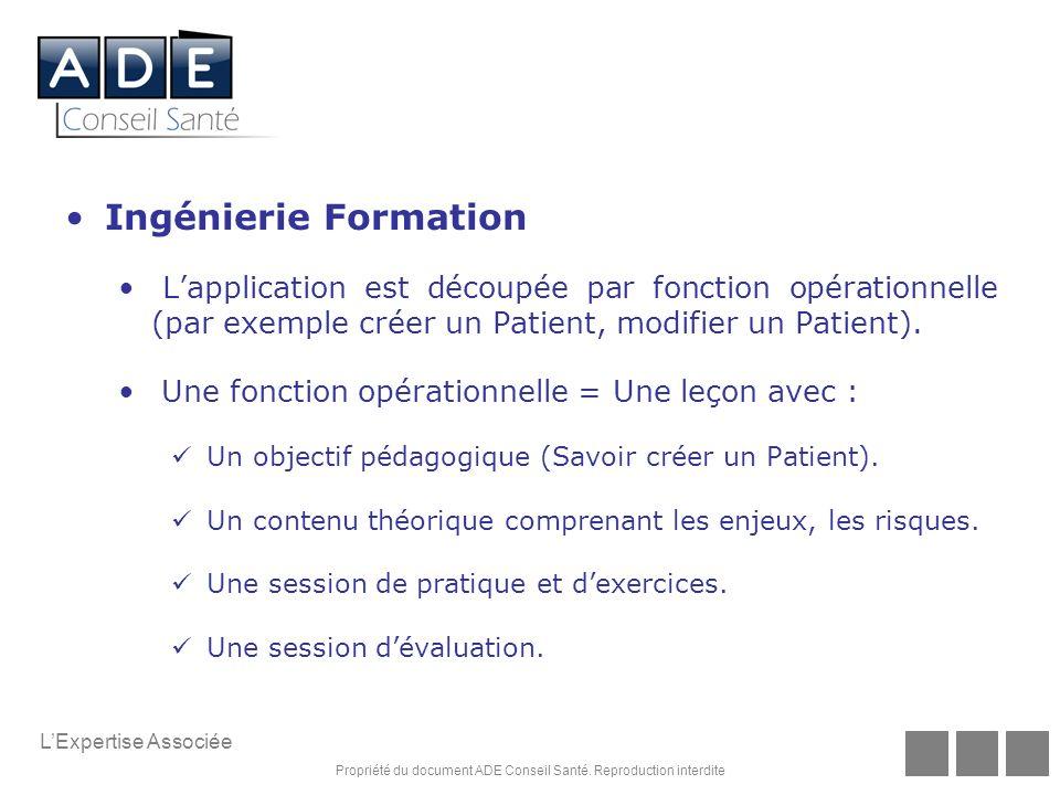 Ingénierie Formation L'application est découpée par fonction opérationnelle (par exemple créer un Patient, modifier un Patient).