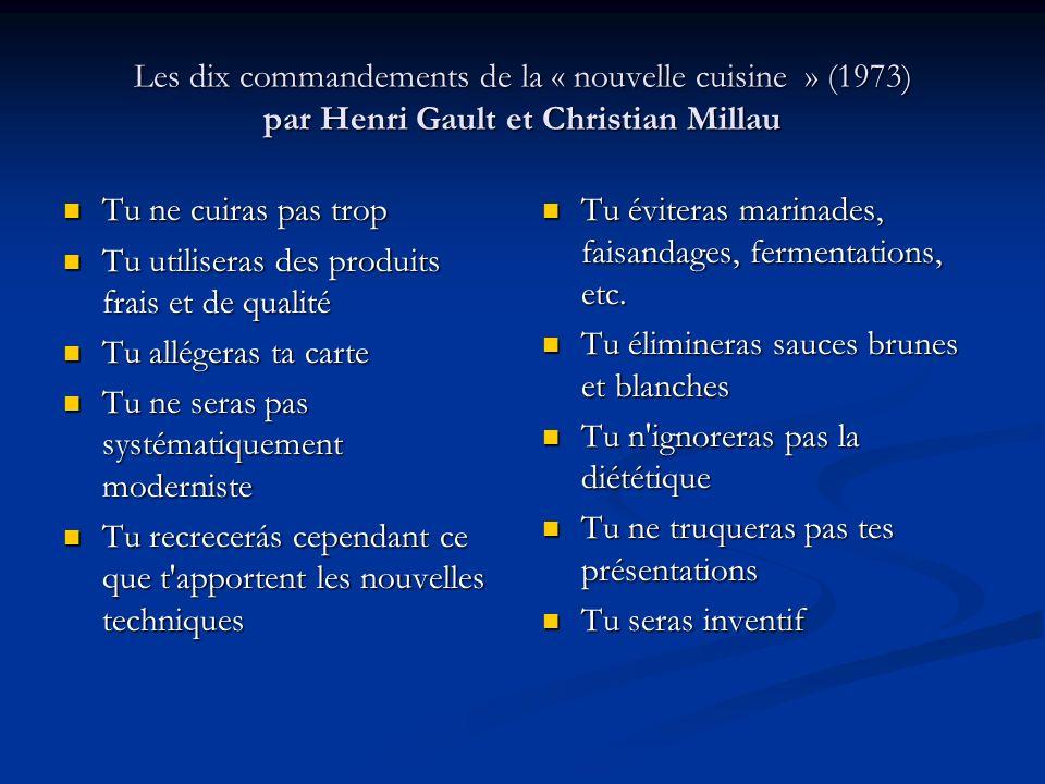 Les dix commandements de la « nouvelle cuisine » (1973) par Henri Gault et Christian Millau