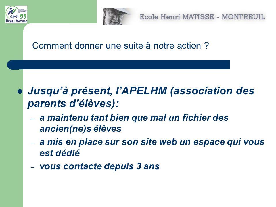Jusqu'à présent, l'APELHM (association des parents d'élèves):