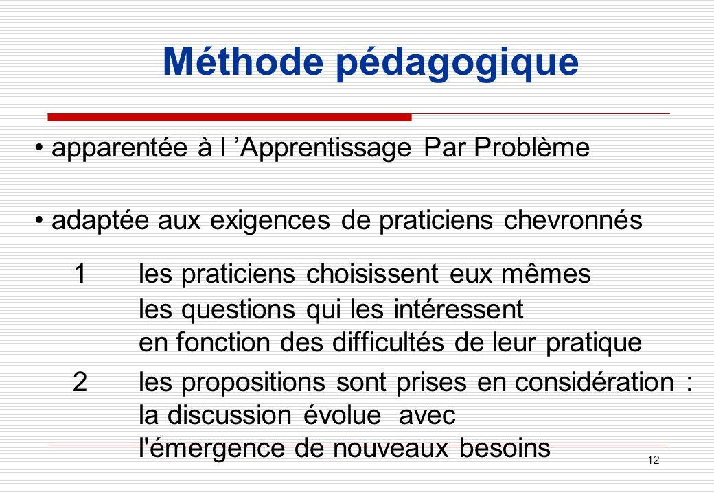 Méthode pédagogique • apparentée à l 'Apprentissage Par Problème. • adaptée aux exigences de praticiens chevronnés.