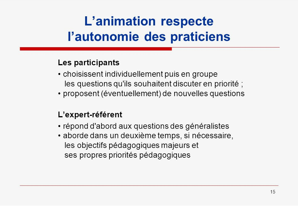 L'animation respecte l'autonomie des praticiens