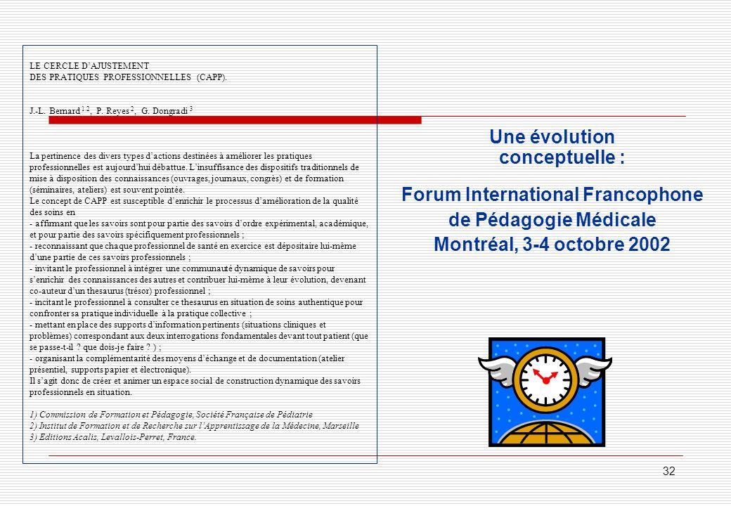 Une évolution conceptuelle : Forum International Francophone