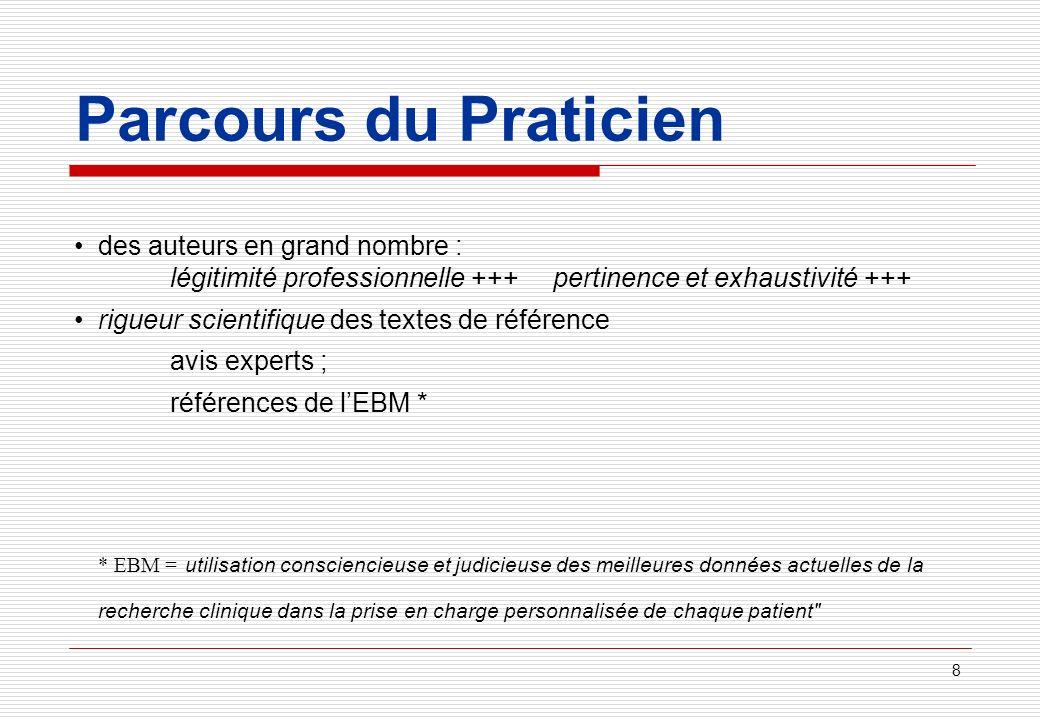Parcours du Praticien • des auteurs en grand nombre : légitimité professionnelle +++ pertinence et exhaustivité +++